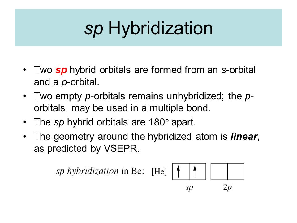 sp Hybridization Two sp hybrid orbitals are formed from an s-orbital and a p-orbital.
