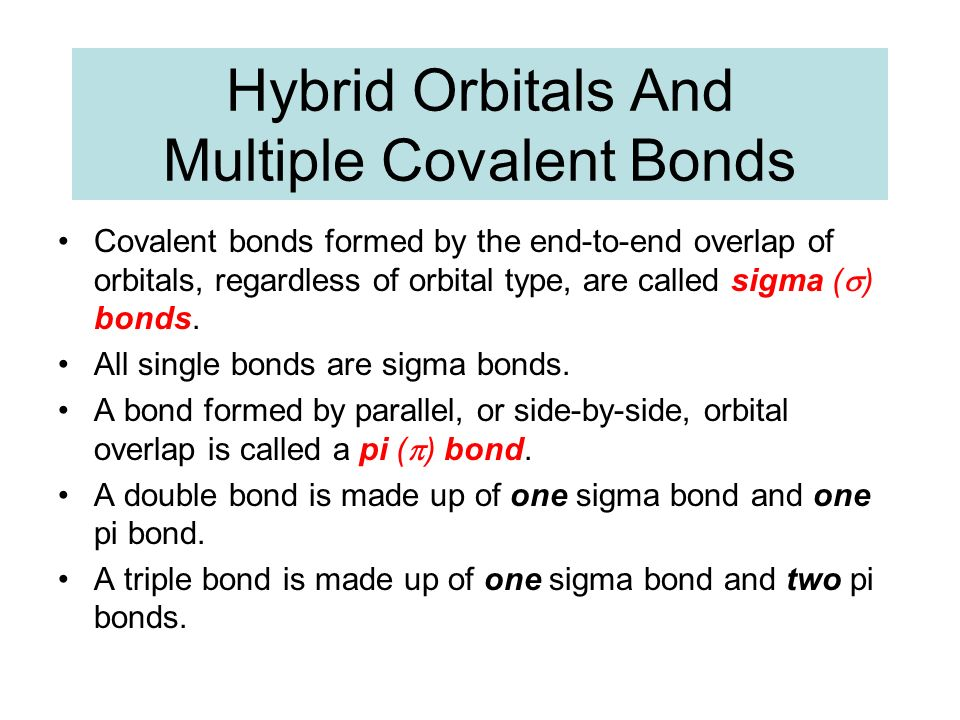Hybrid Orbitals And Multiple Covalent Bonds