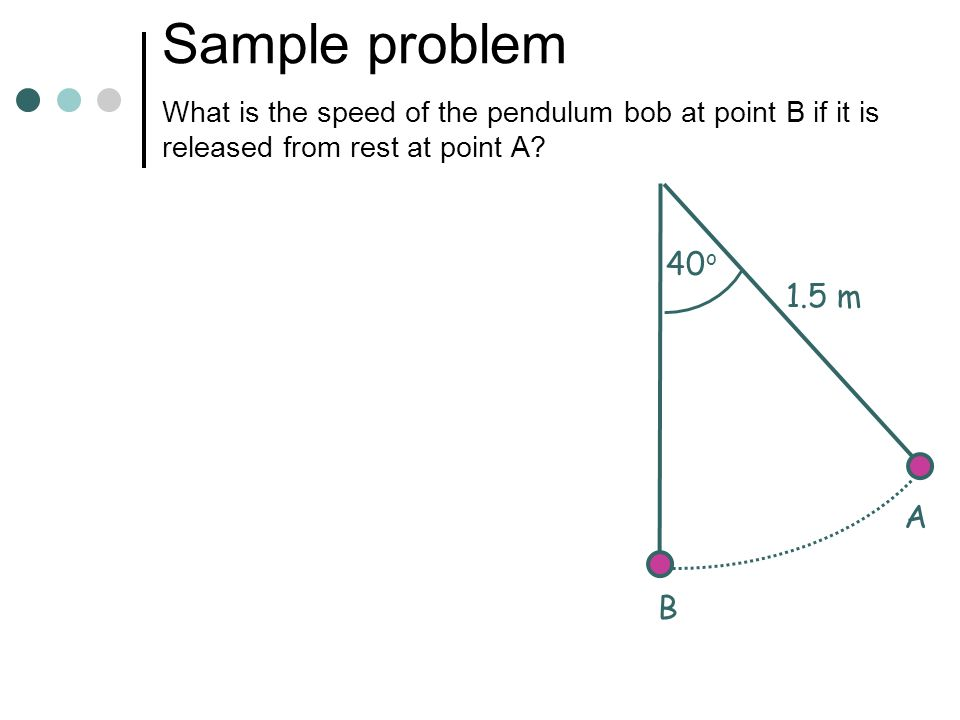Sample problem What is the speed of the pendulum bob at point B if it is released from rest at point A
