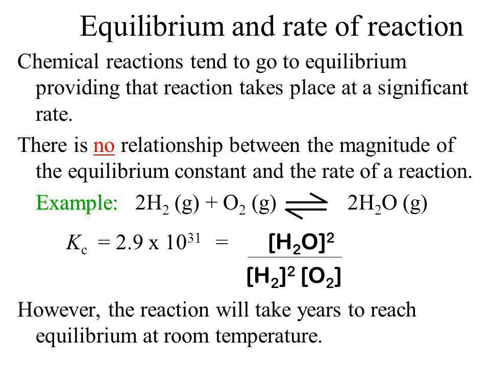 Equilibrium and rate of reaction