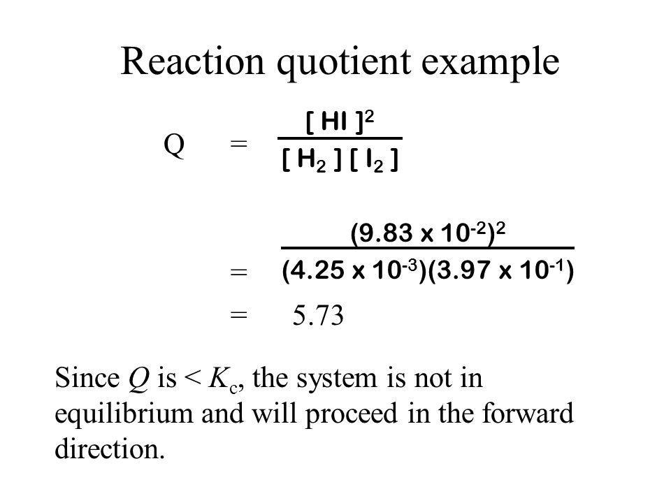 Reaction quotient example