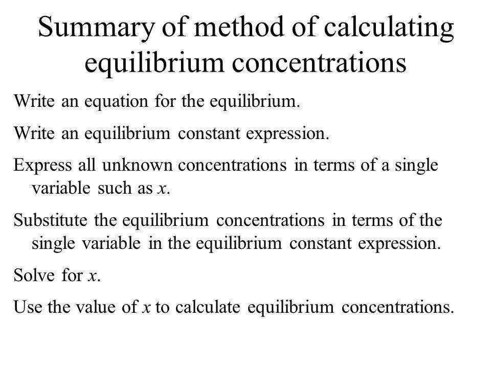 Summary of method of calculating equilibrium concentrations