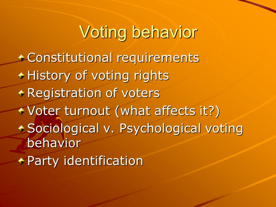 Voting behavior Constitutional requirements History of voting rights