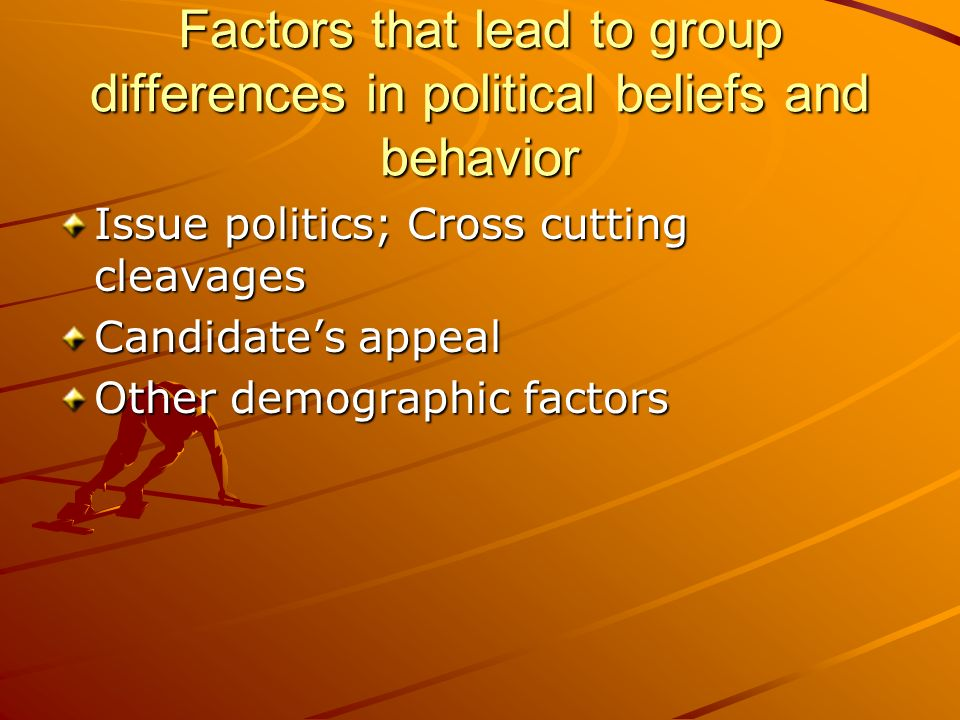 Factors that lead to group differences in political beliefs and behavior