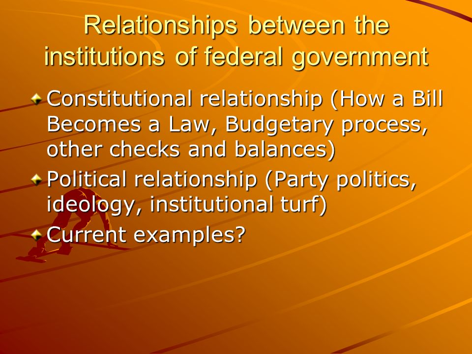 Relationships between the institutions of federal government