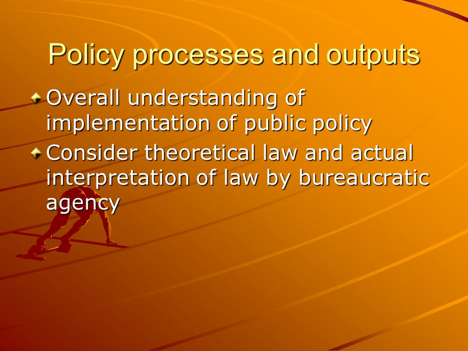 Policy processes and outputs
