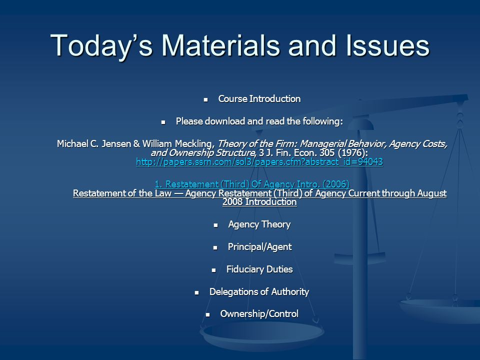 Today's Materials and Issues