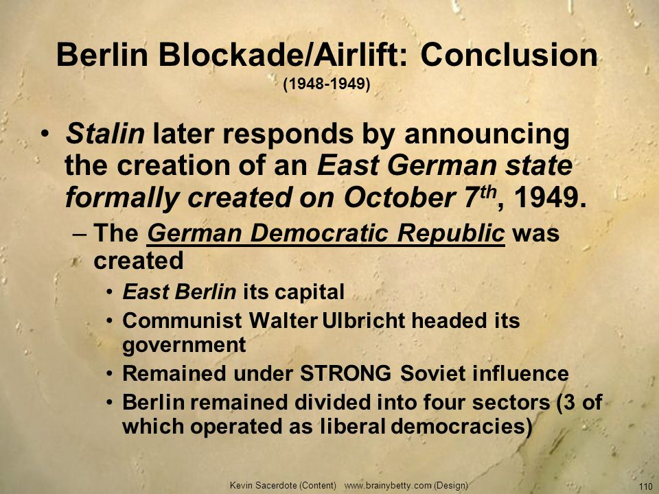 Berlin Blockade/Airlift: Conclusion ( )