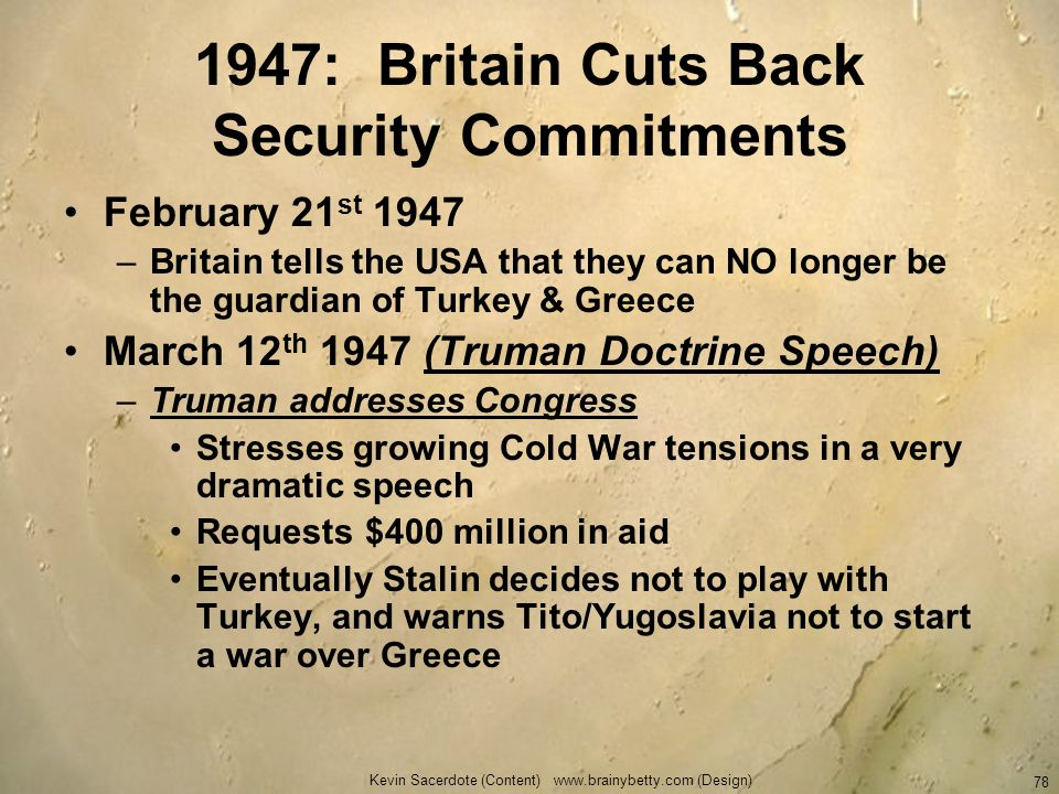 1947: Britain Cuts Back Security Commitments