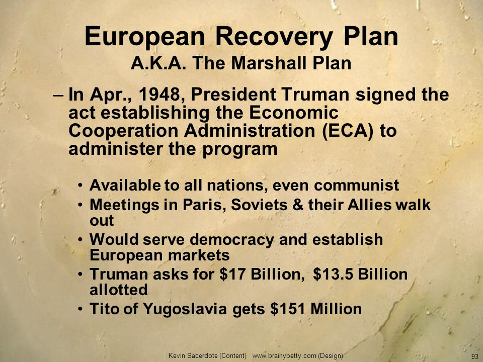 European Recovery Plan A.K.A. The Marshall Plan