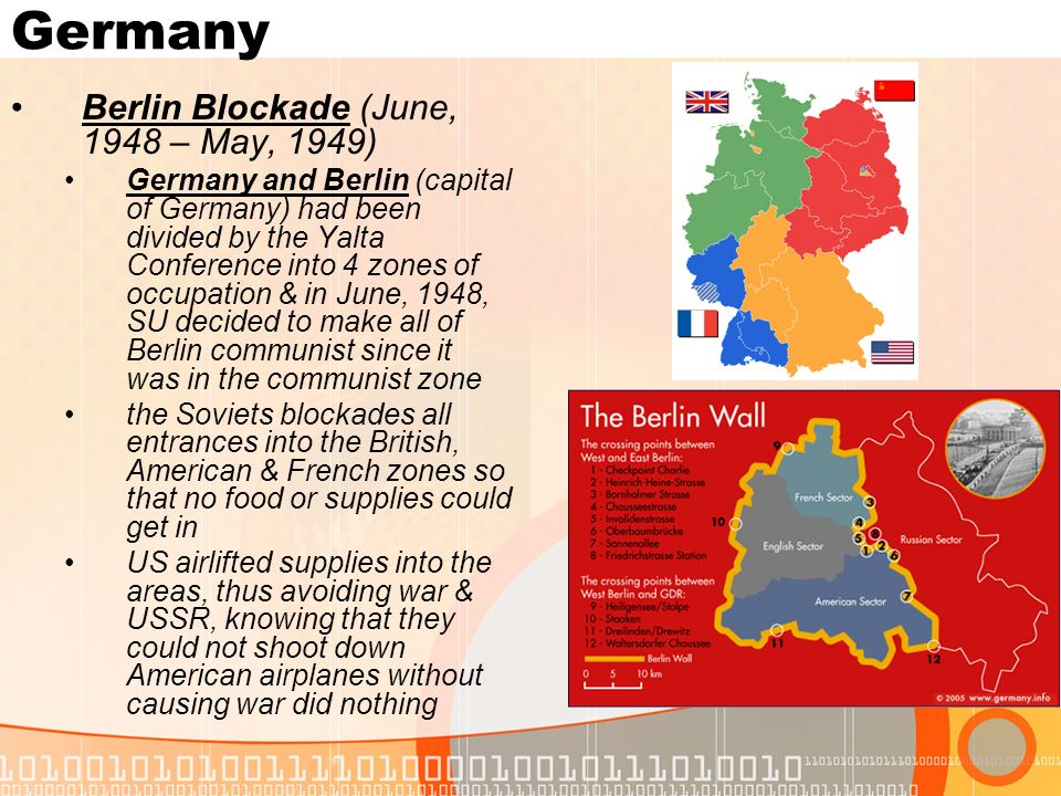 Germany Berlin Blockade (June, 1948 – May, 1949)