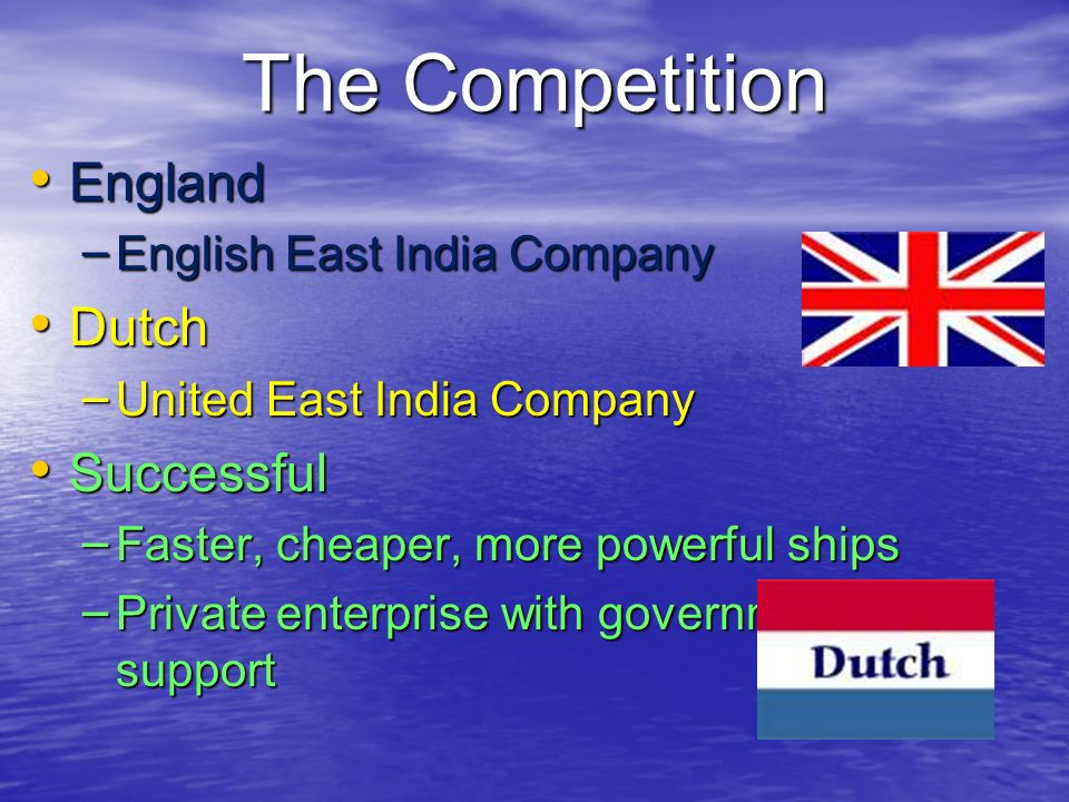 The Competition England Dutch Successful English East India Company
