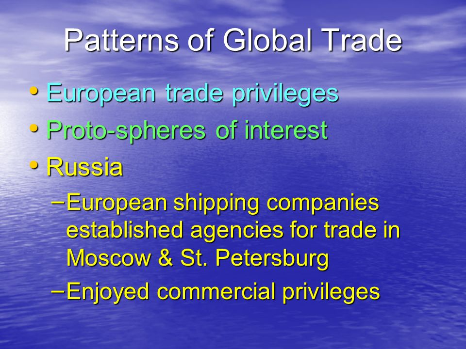 Patterns of Global Trade