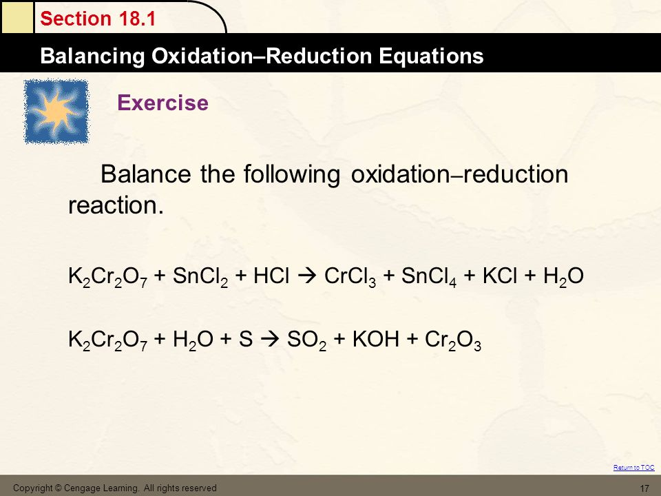 Balance the following oxidation–reduction reaction.