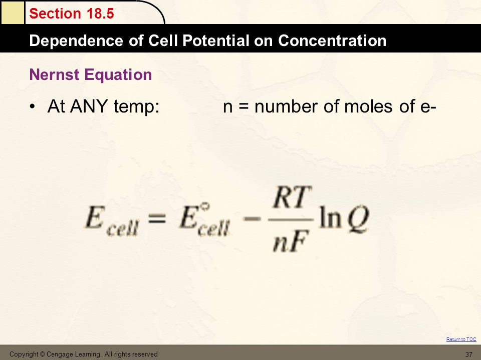 At ANY temp: n = number of moles of e-