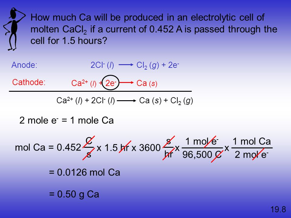 How much Ca will be produced in an electrolytic cell of molten CaCl2 if a current of 0.452 A is passed through the cell for 1.5 hours