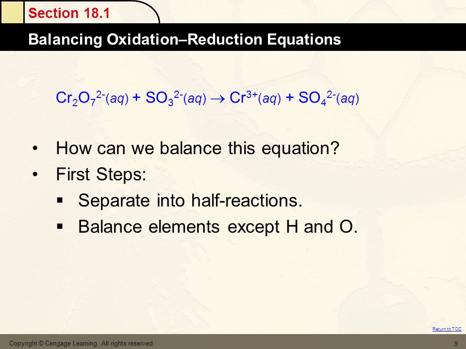 How can we balance this equation First Steps: