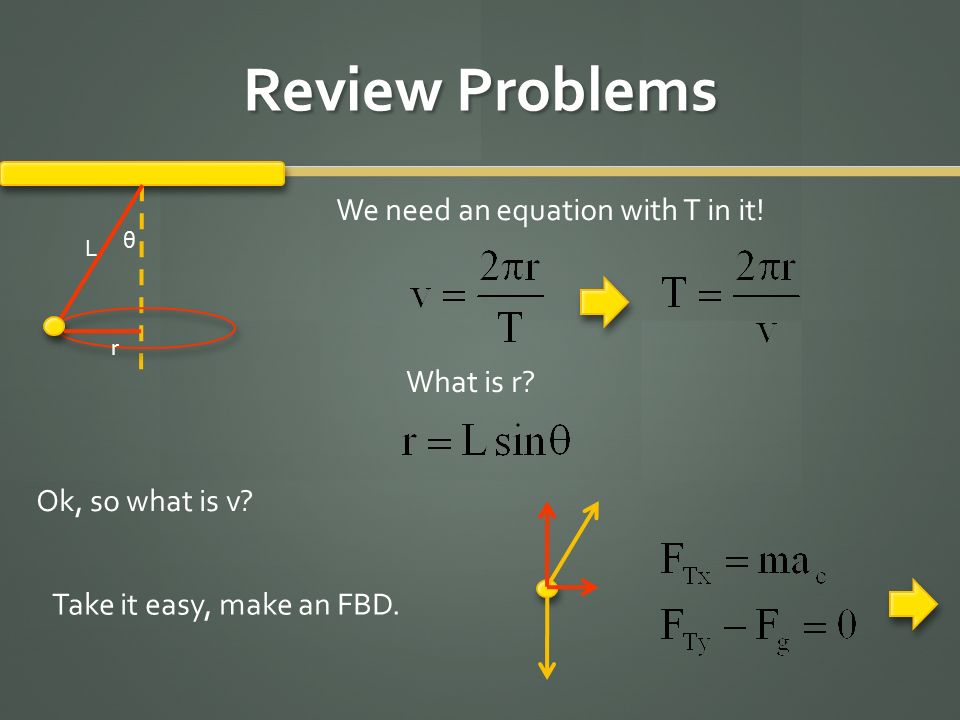 Review Problems We need an equation with T in it! What is r