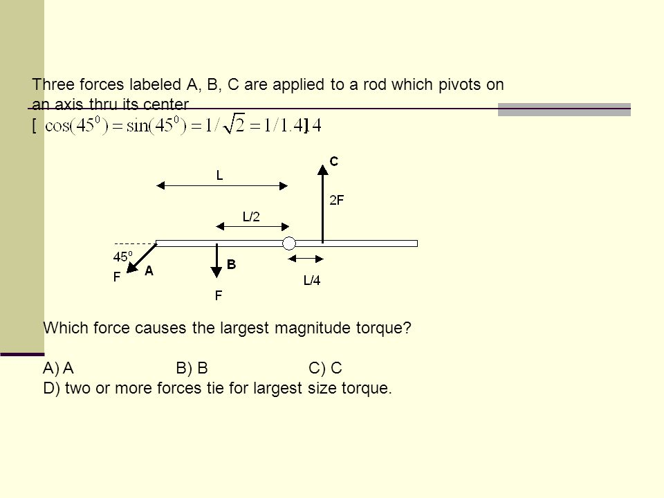 Three forces labeled A, B, C are applied to a rod which pivots on an axis thru its center