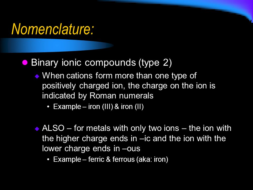 Nomenclature: Binary ionic compounds (type 2)