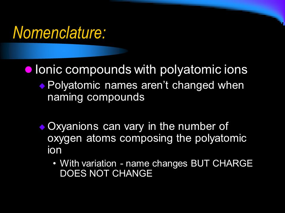 Nomenclature: Ionic compounds with polyatomic ions