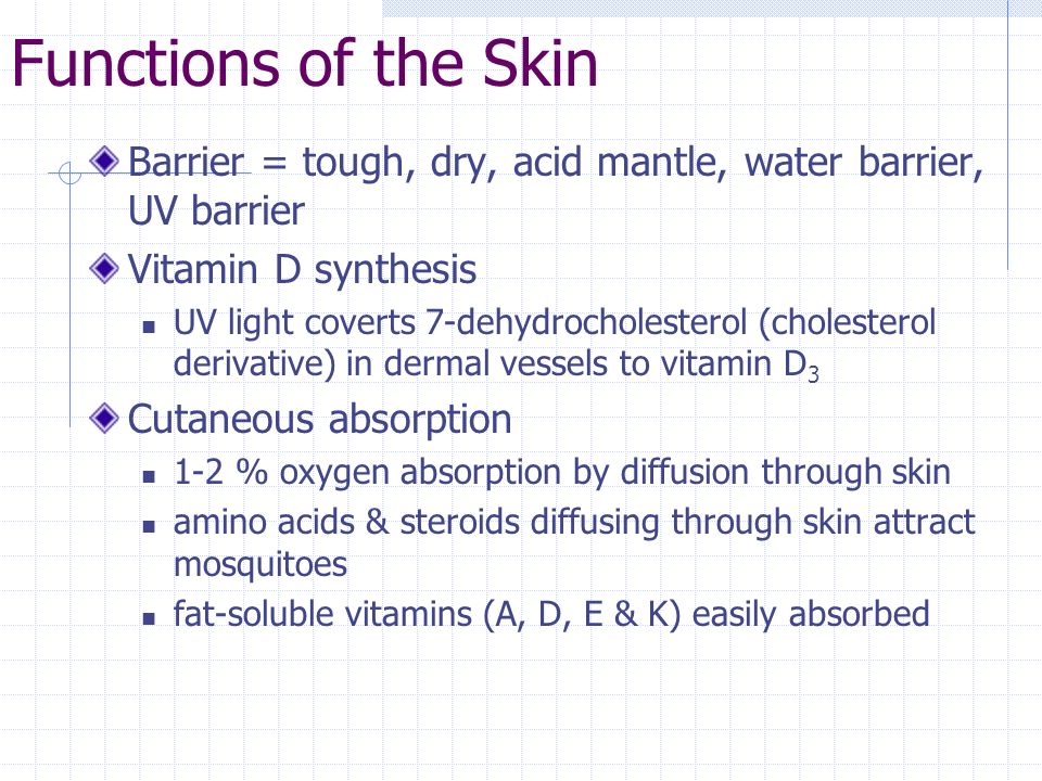 Functions of the Skin Barrier = tough, dry, acid mantle, water barrier, UV barrier. Vitamin D synthesis.