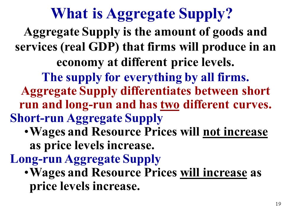 What is Aggregate Supply The supply for everything by all firms.