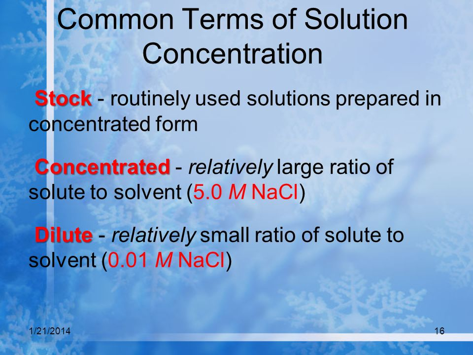 Common Terms of Solution Concentration