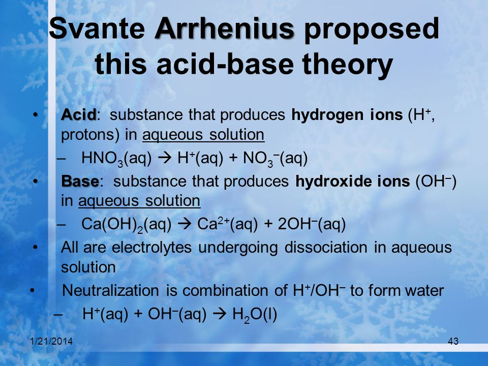 Svante Arrhenius proposed this acid-base theory