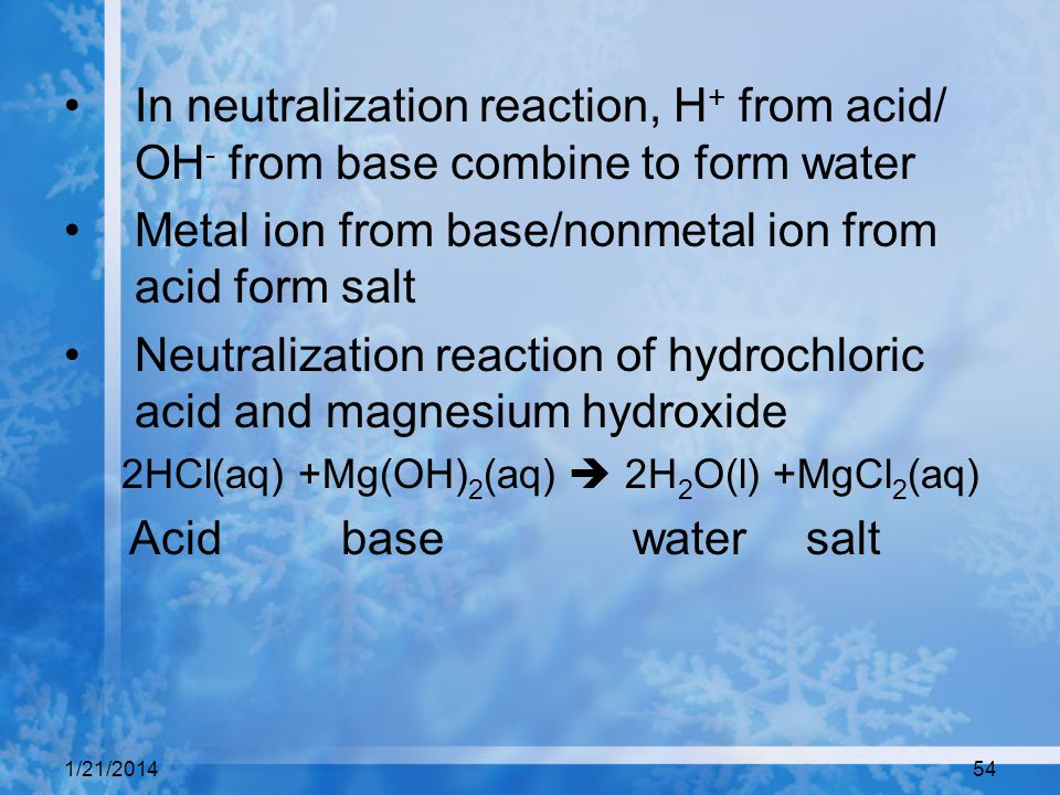 Metal ion from base/nonmetal ion from acid form salt