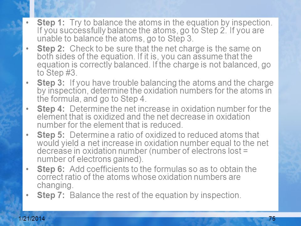 Step 7: Balance the rest of the equation by inspection.