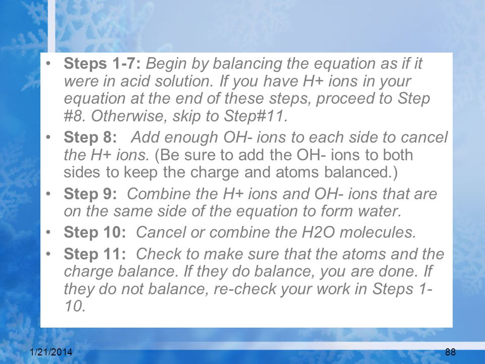 Step 10: Cancel or combine the H2O molecules.