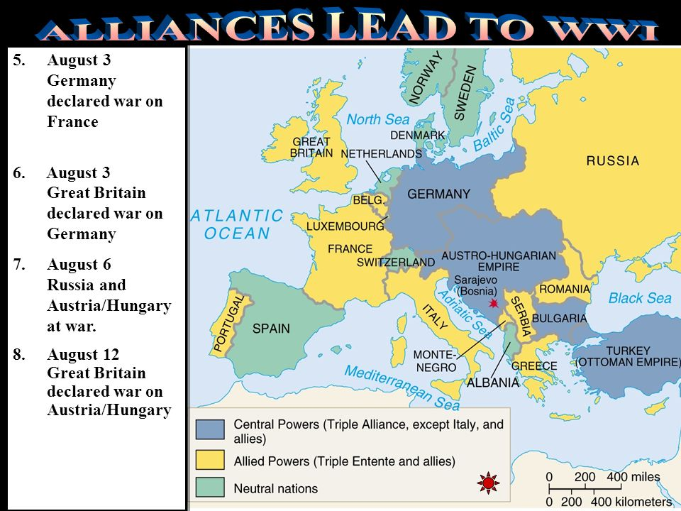 ALLIANCES LEAD TO WWI August 3 Germany declared war on France