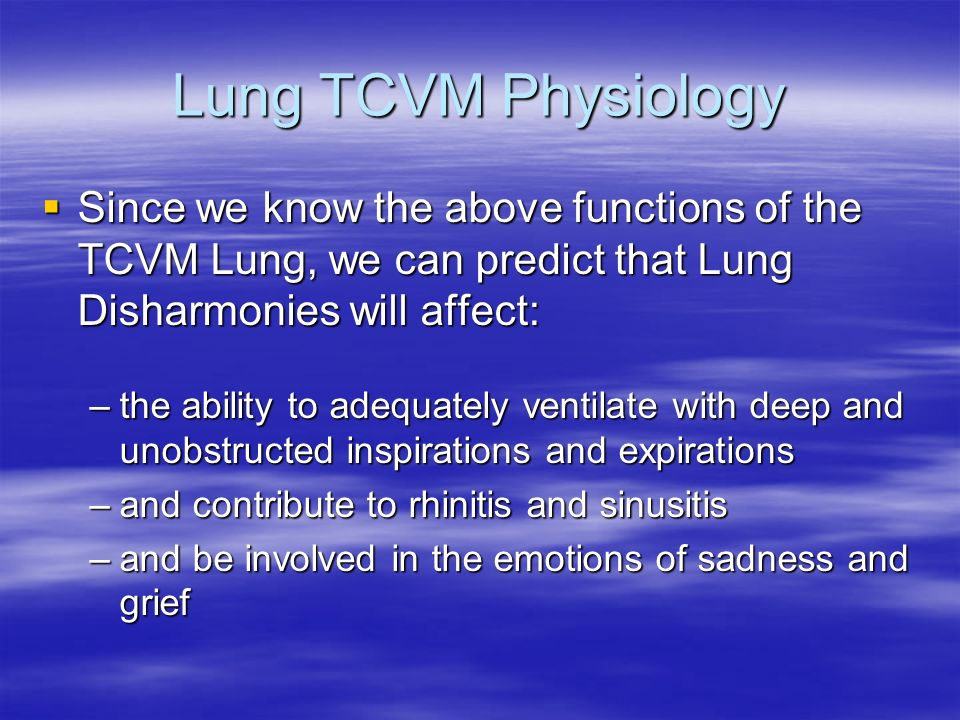 Lung TCVM Physiology Since we know the above functions of the TCVM Lung, we can predict that Lung Disharmonies will affect: