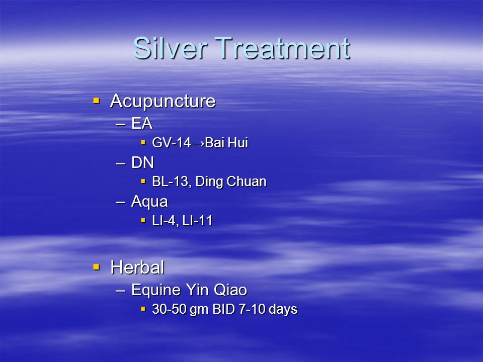 Silver Treatment Acupuncture Herbal EA DN Aqua Equine Yin Qiao
