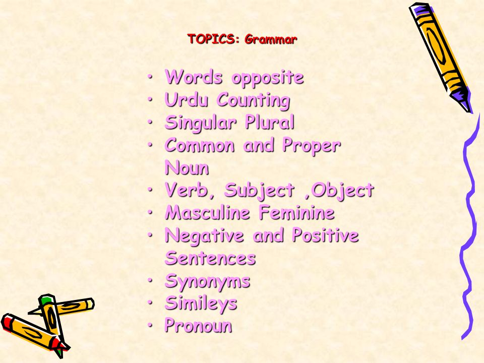Negative and Positive Sentences Synonyms Simileys Pronoun