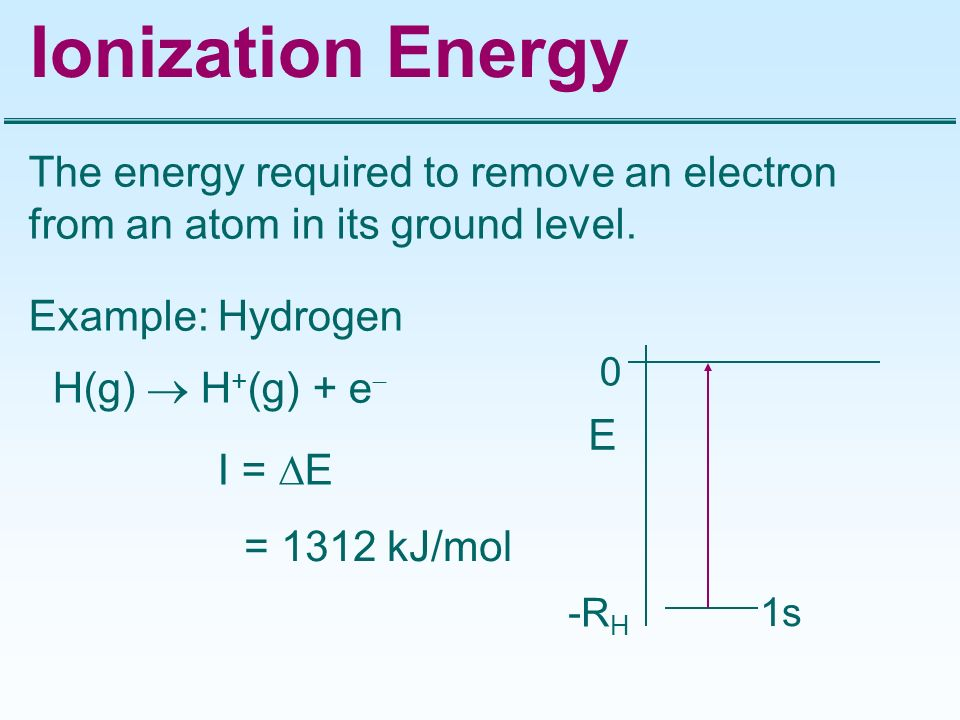Ionization Energy The energy required to remove an electron from an atom in its ground level. Example: Hydrogen.