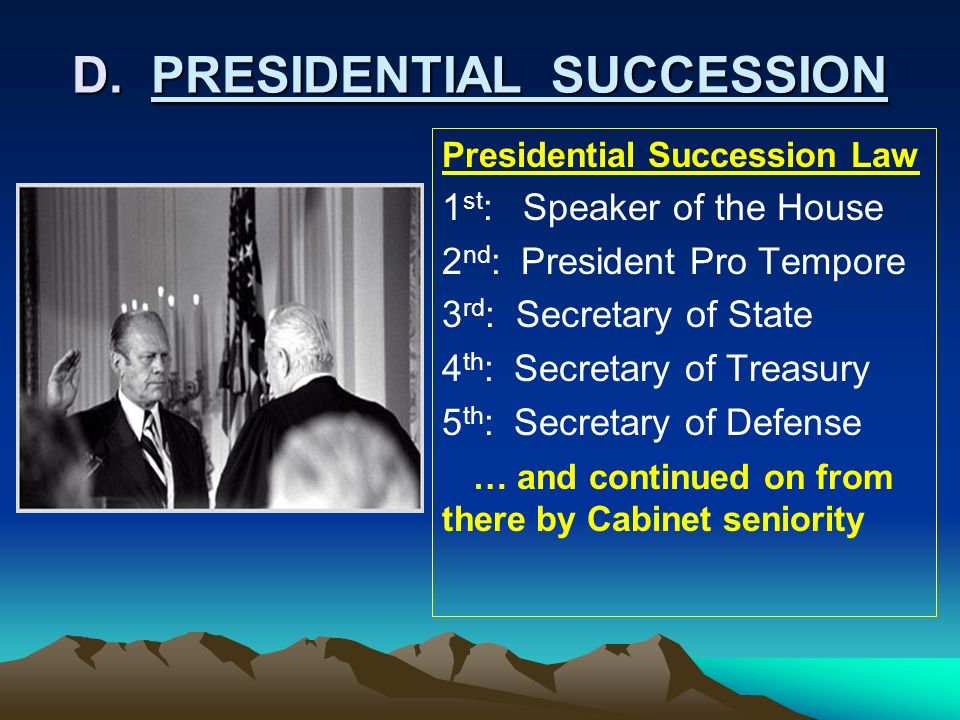 D. PRESIDENTIAL SUCCESSION