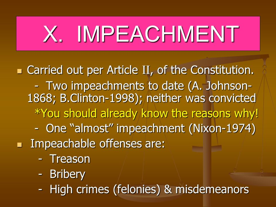 X. IMPEACHMENT Carried out per Article II, of the Constitution.