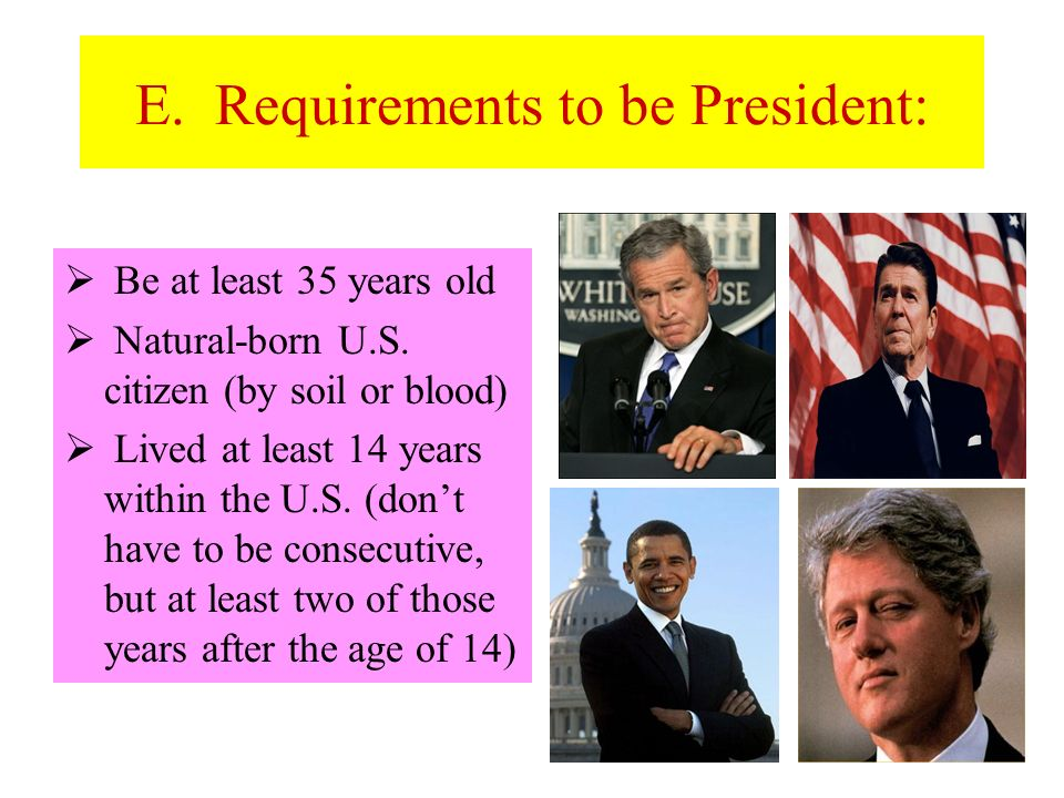 E. Requirements to be President: