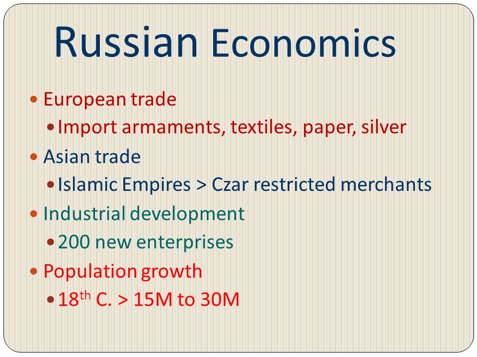 Russian Economics European trade