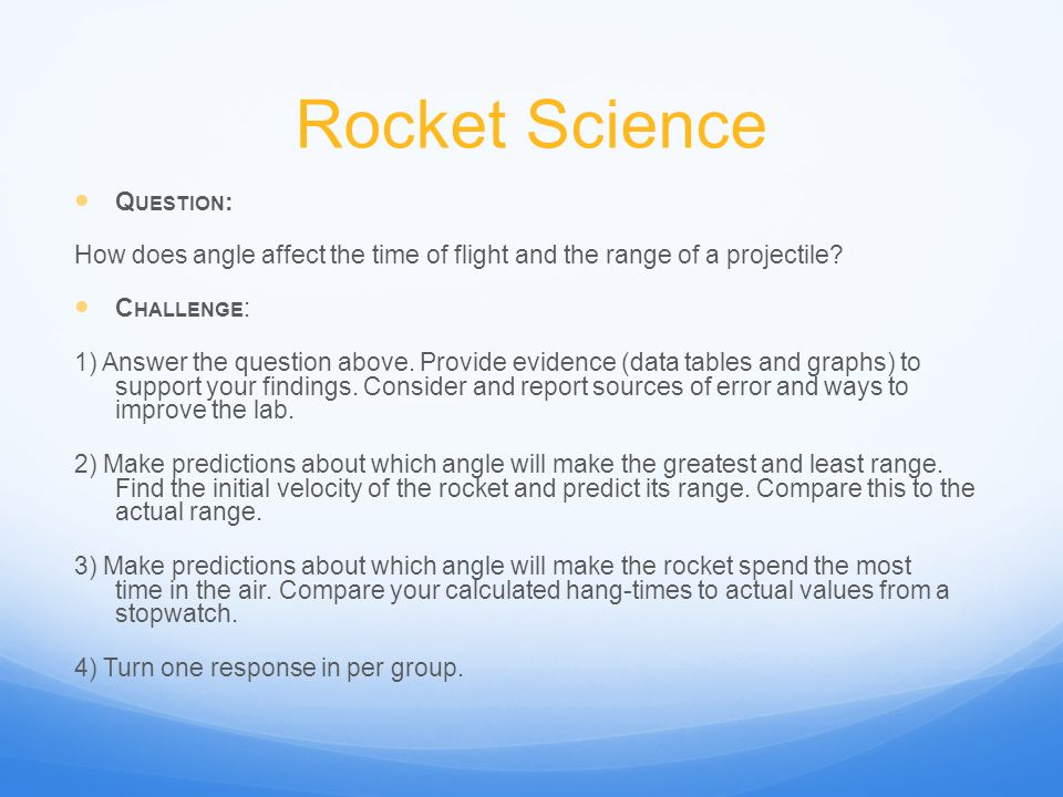Rocket Science Question: