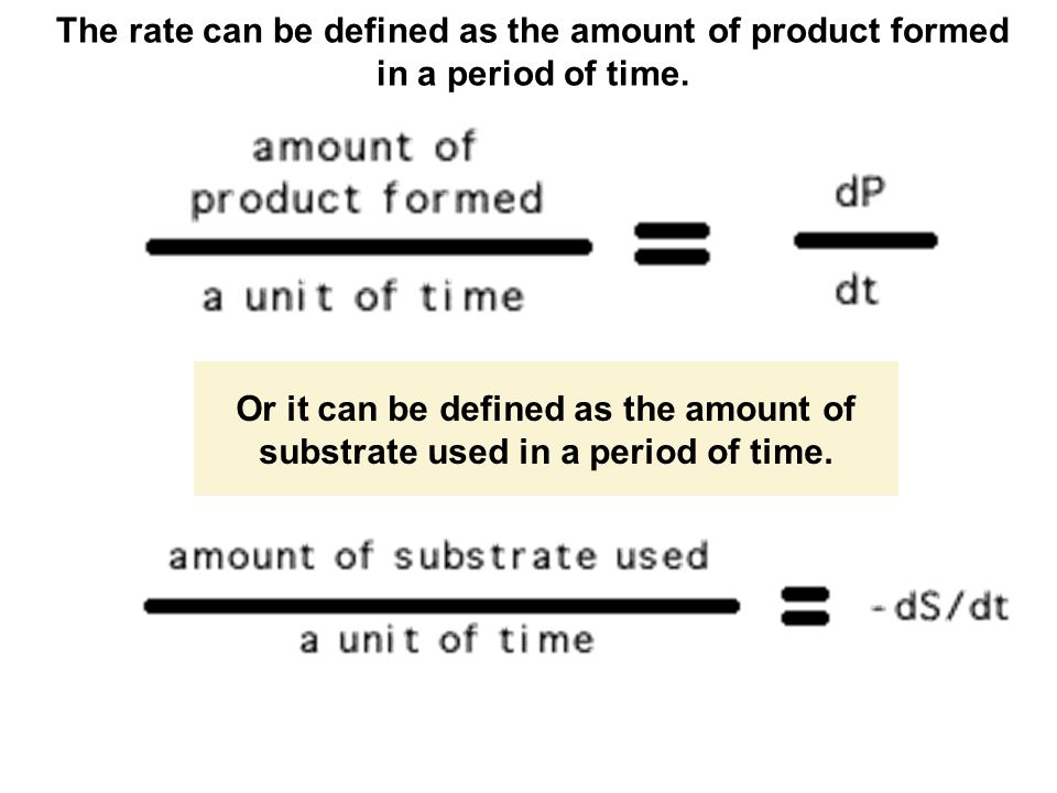 The rate can be defined as the amount of product formed in a period of time.