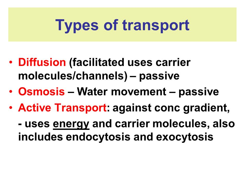Types of transport Diffusion (facilitated uses carrier molecules/channels) – passive. Osmosis – Water movement – passive.