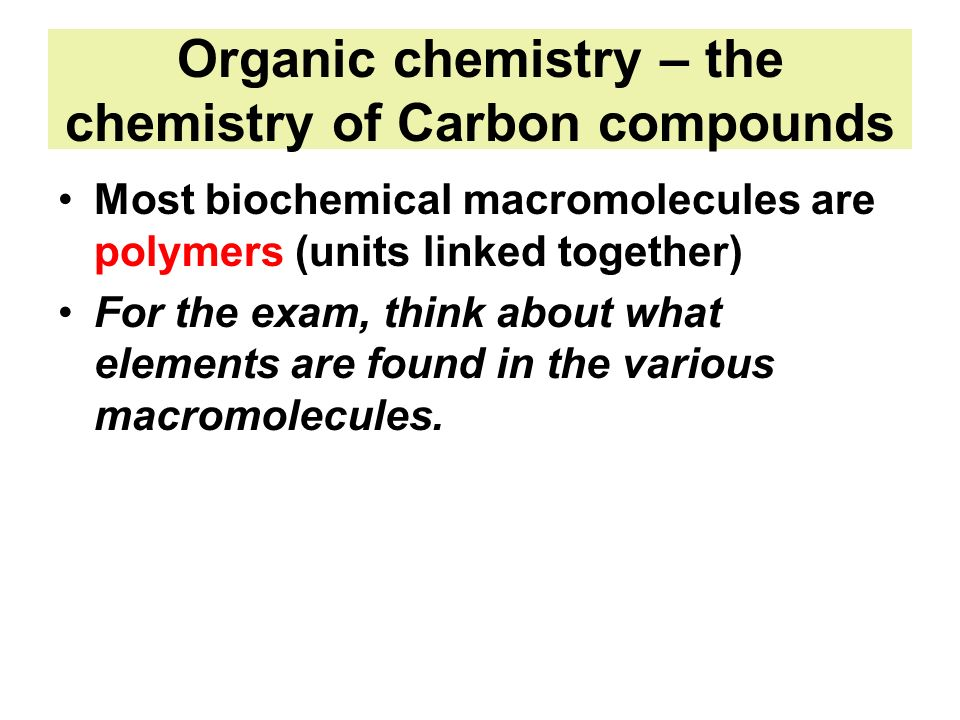 Organic chemistry – the chemistry of Carbon compounds