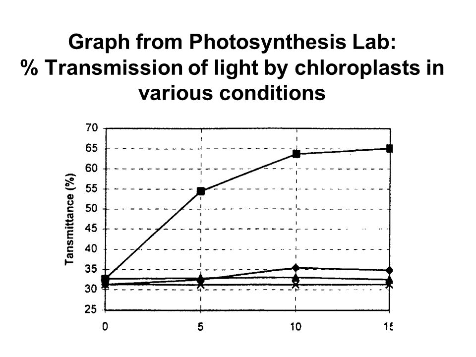 Graph from Photosynthesis Lab: % Transmission of light by chloroplasts in various conditions