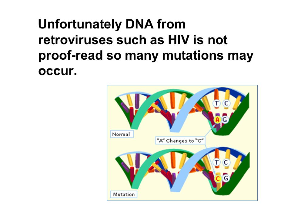 Unfortunately DNA from retroviruses such as HIV is not proof-read so many mutations may occur.