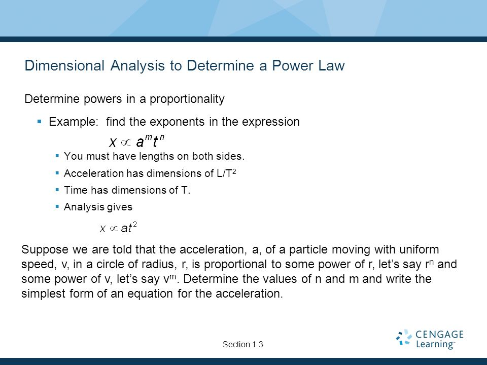 Dimensional Analysis to Determine a Power Law