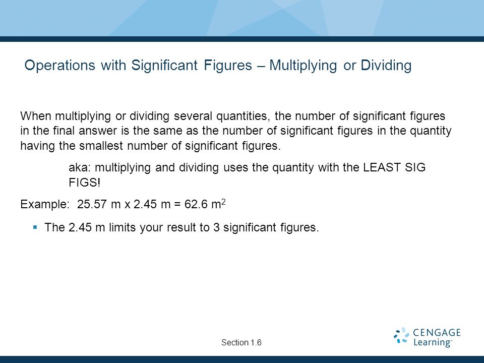 Operations with Significant Figures – Multiplying or Dividing
