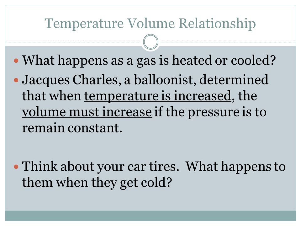 Temperature Volume Relationship